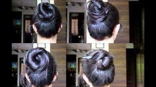 4 Simple Bun/Juda Hairstyles | How To Make Bun For Everyday | Quick Bun/Updo Hairstyles