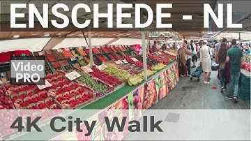 4K Enschede City Walk from the Railway Station to the famous bi-weekly outdoor Market