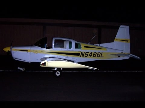 Night Landing in Grumman American AA-5 Traveler at El Monte Airport (KEMT) 2007