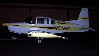 Night Landing in Grumman American AA-5 Traveler at El Monte Airport (KEMT) 2007