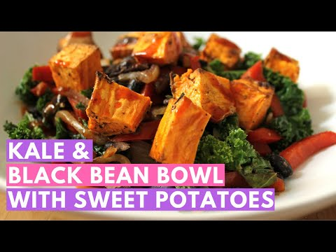Quick and easy veggie bowl: Southwestern kale and black bean bowl with sweet potatoes and hot sauce