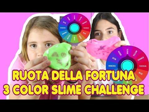 RUOTA DELLA FORTUNA: 3 COLORS SLIME CHALLENGE PASTA FURBA  by MARGHE GIULIA KAWAII