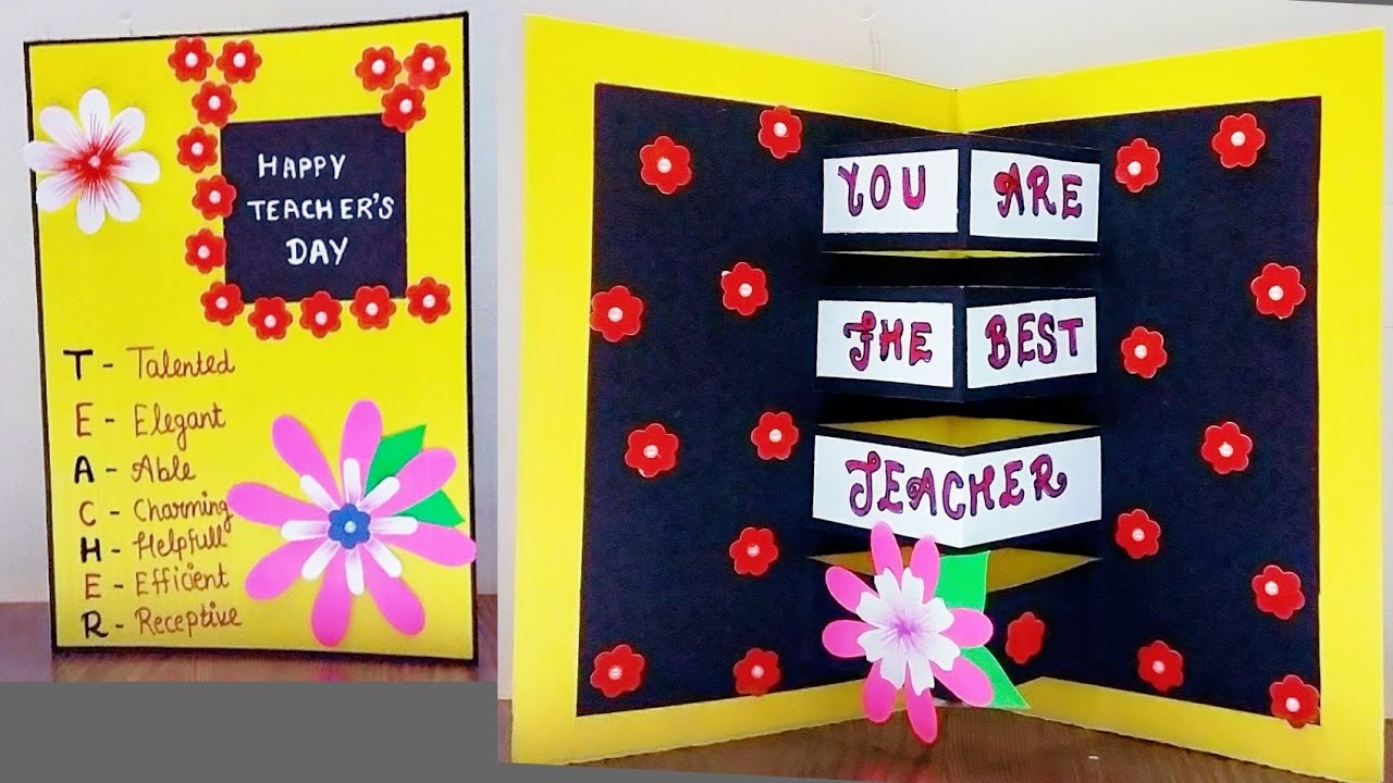 diy teacher's day pop up card  how to make card for