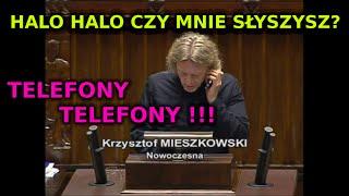 Poseł .Nowoczesnej Krzysztof Mieszkowski odbiera telefon na mównicy śmieszne filmy Ryszard Petru