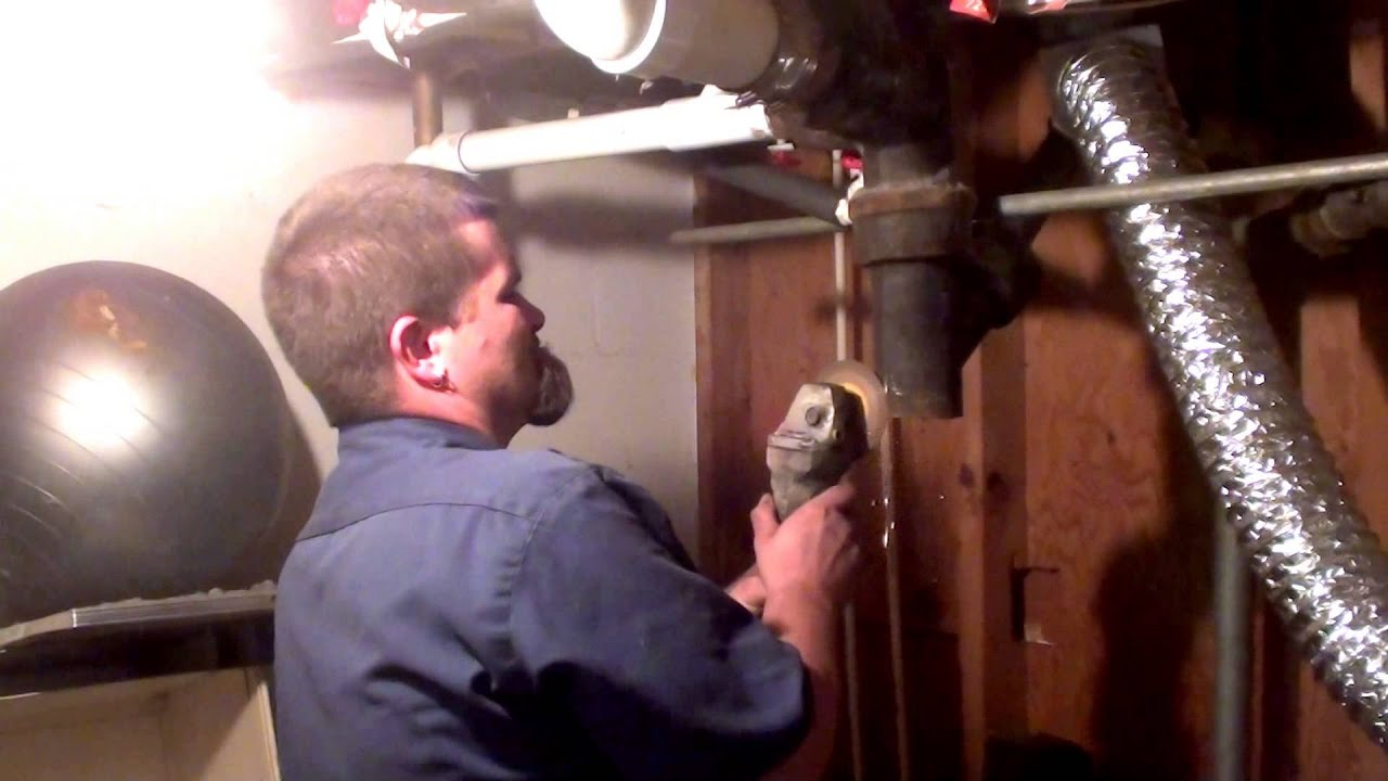 Replacing A Section Of Cracked Cast Iron Drain Pipe In 20