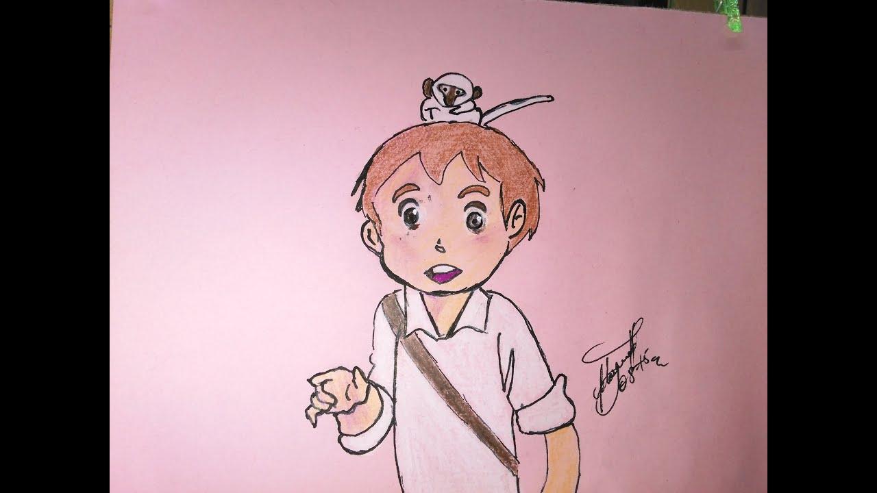 Como dibujar a Marco y su mono Amenis 1D, Como desenhar Marco e seu ...