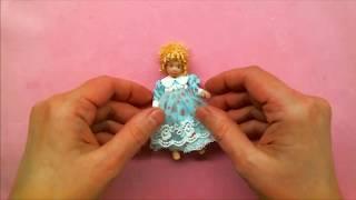 DIY * Как сделать платье с воротником для миниатюрной куклы * мастер-класс