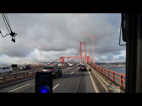 Driving in Lisbon, on both sides of Tagus river. (Bus view)