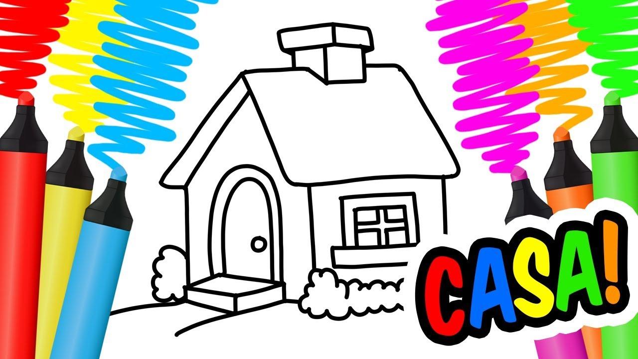 como desenhar e colorir uma casa vaca e Árvore pintar e aprender
