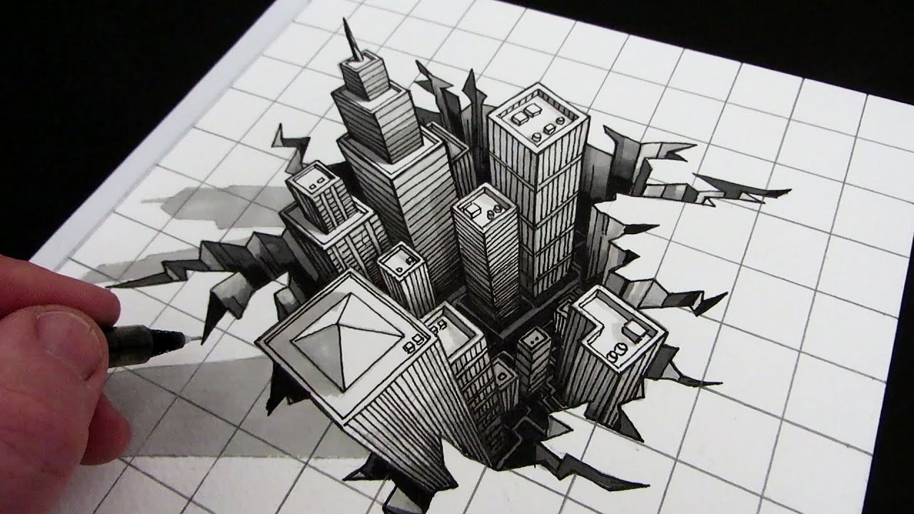 3d draw hole illusion optical drawing drawings step perspective cool illusions paper buildings ground narrated point easy using tutorials circle