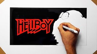 How To Draw Hellboy - Speed Drawing Fan Art Cartoon and Logo