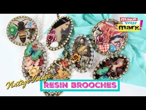 Resin Brooches with Vintage Images