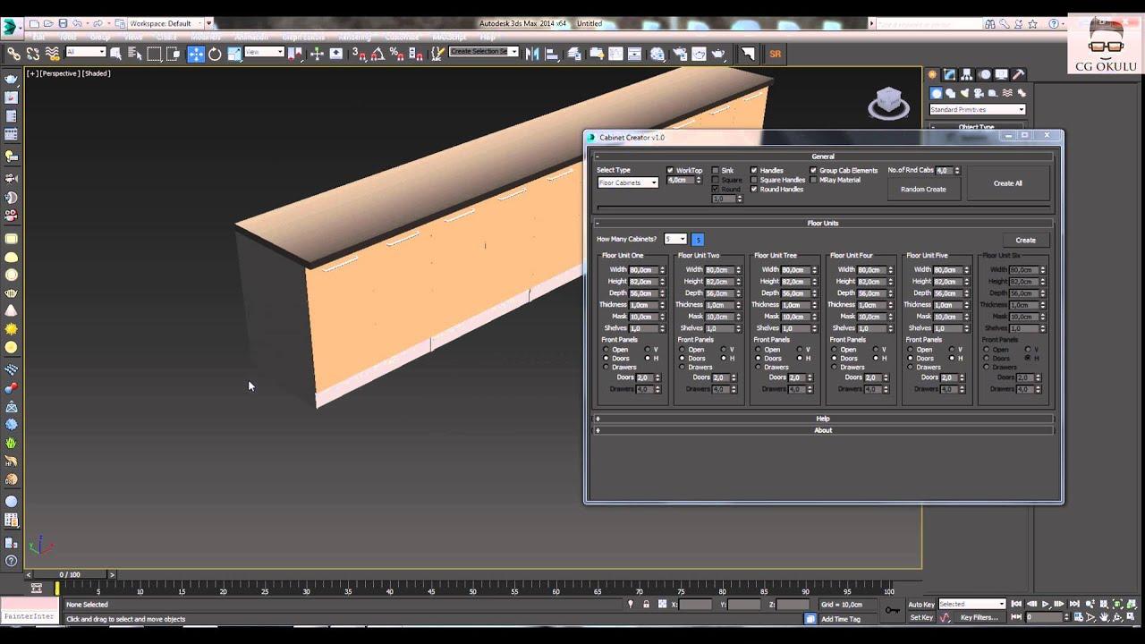 3ds Max Kitchen Cabinet Creator (Mutfak Dolabı Script) - YouTube