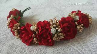 How to make Hair brooch at home /very easy bridel wedding hair accessories /easy tiaras/ gajara /ven