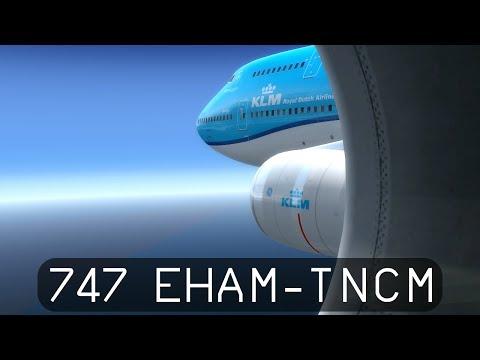 Prepar3d V4 - KLM 747-400 - Amsterdam to St. Maarten (EHAM-TNCM)