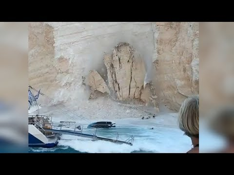 Massive Cliff Collapse on Navagio beach, Zakynthos – Greece