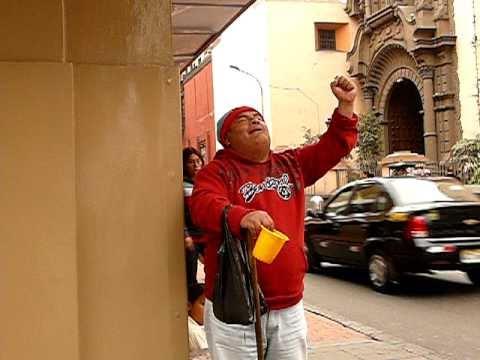 Peru - Lima - Blind beggar calling out to God