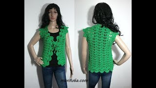 How to crochet easy and quick jacket bolero for beginners free tutorial by marifu6a