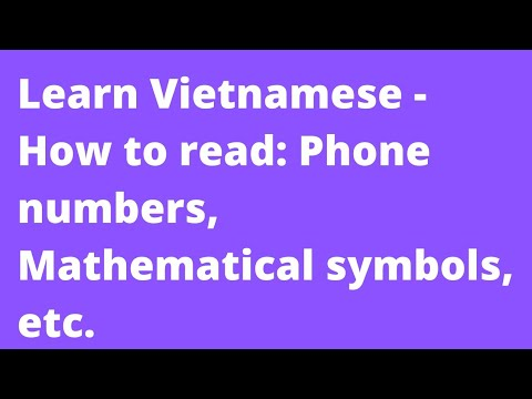 Learn Vietnamese How To Read Phone Numbers Mathematical Symbols
