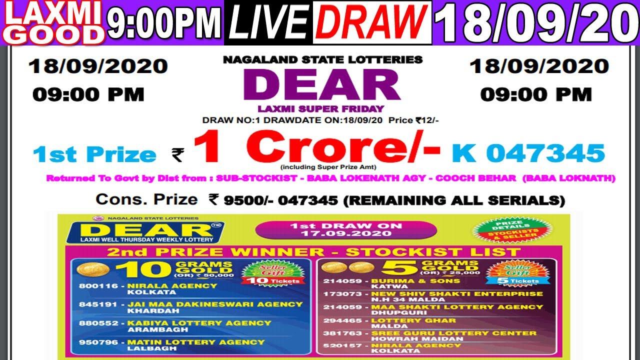 Lottery Sambad Dear Laxmi 9PM Date:18.09.2020 Dear Laxmi Nagaland Live TodayResult Lottery