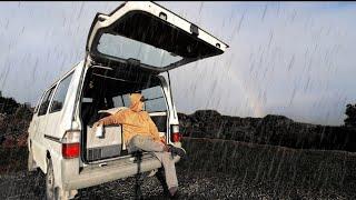 Solo Car CAMP iฑ Heavy RAIN & Wind | Overnight Adventure