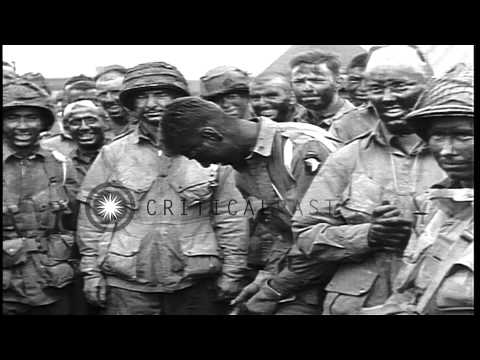 US General Dwight Eisenhower speaks to US 101st Airborne Division paratroopers in...HD Stock Footage