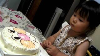 かれんちゃん、アンパンマンケーキ、切りたくないの巻!!