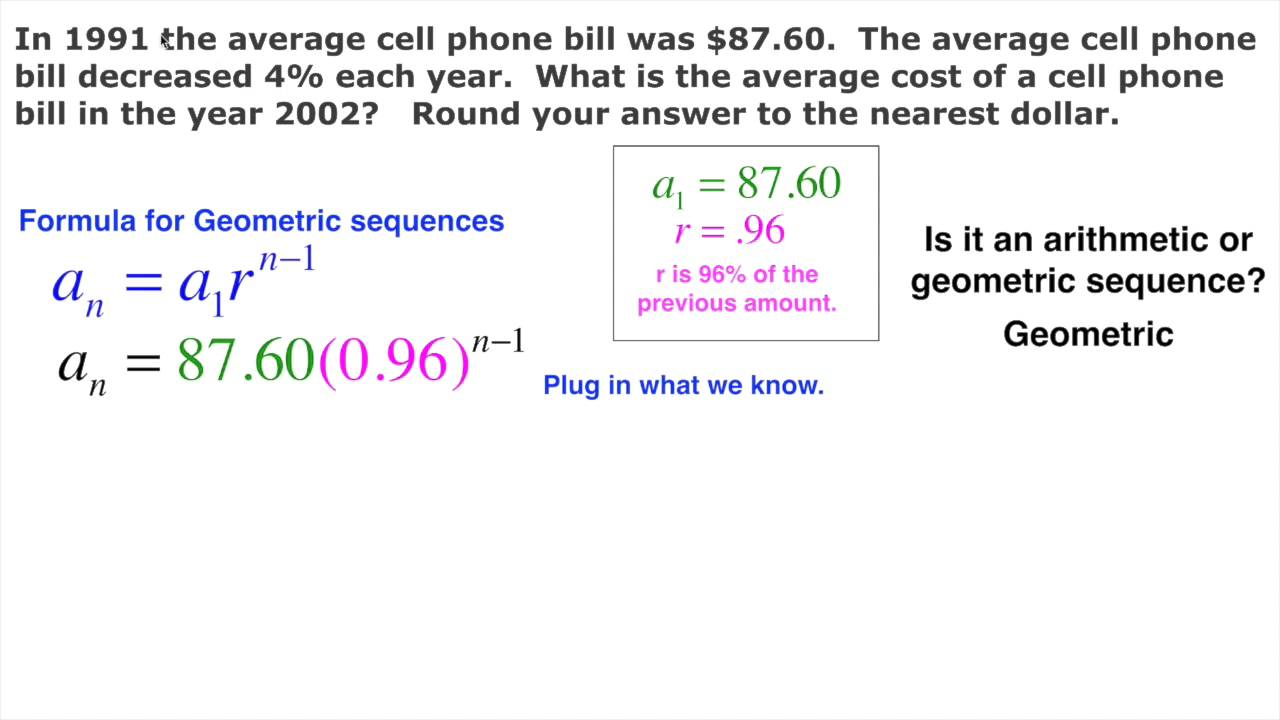 Geometric Sequence Real Life Cell Phone Bill Design