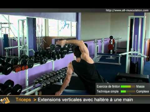 Extensions triceps au dessus de la tête avec une haltère. All Musculation 718d50be4e9