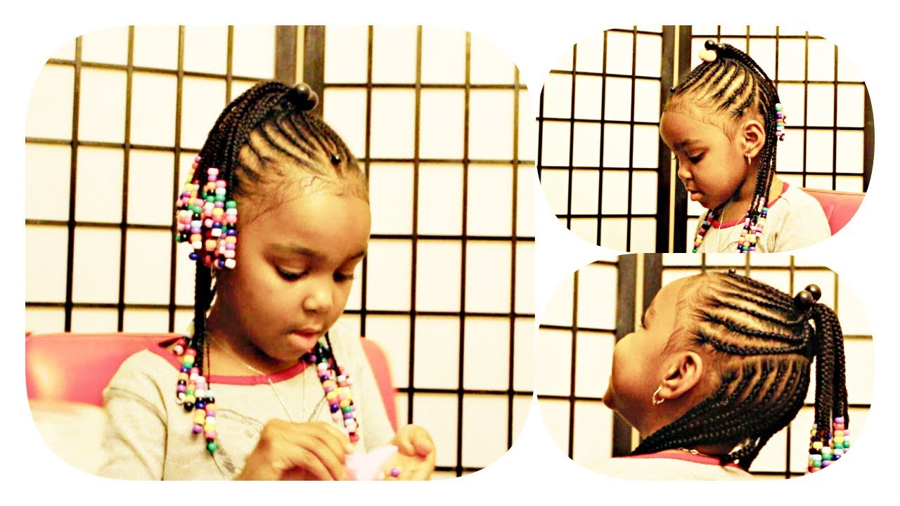 Braids With Beads Kids Natural Hair No Weave Youtube