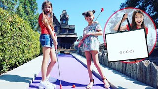 Make a Hole in One, I'll Buy You Anything - Mini Golf Challenge | TwoSistersToyStyle