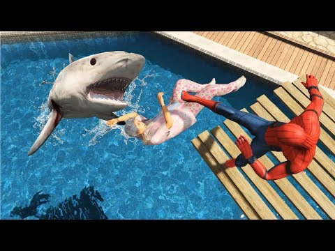 GTA 5 Water Ragdolls | Spider-Man Vs Shark Ep.49 (Euphoria Physics)