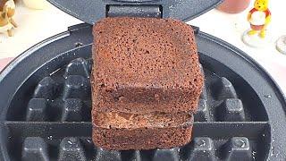 Waffle Iron vs Fudgy Chocolate Brownies 와플기계로 초코 브라우니 누르기 #Shorts