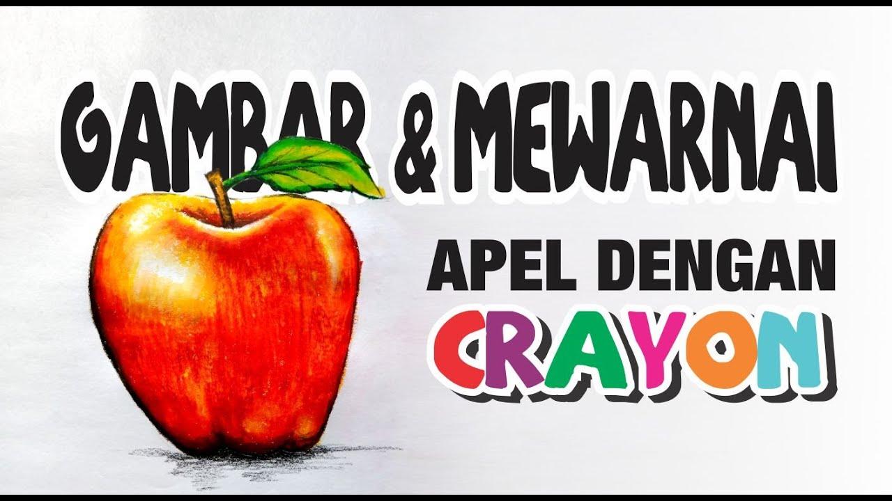 CARA GAMBAR & MEWARNAI BUAH APEL DENGAN CRAYON