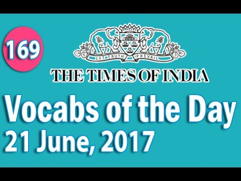 The Times of India Vocabulary (21 June, 2017) - Learn 10 New Words with Tricks | Day-169