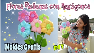 Flores de Tela con hexágonos - Flores rellenas DIY Valentine´s Day