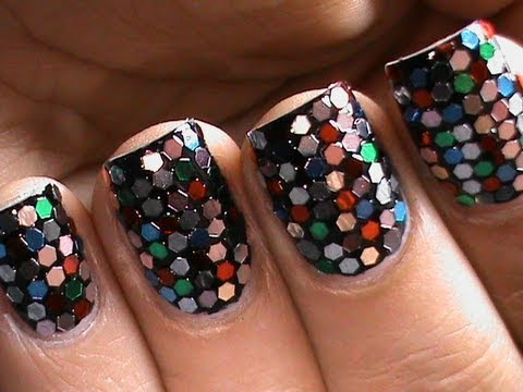 Sequin Nail Art How To Do Glitter Nail Designs Youtube