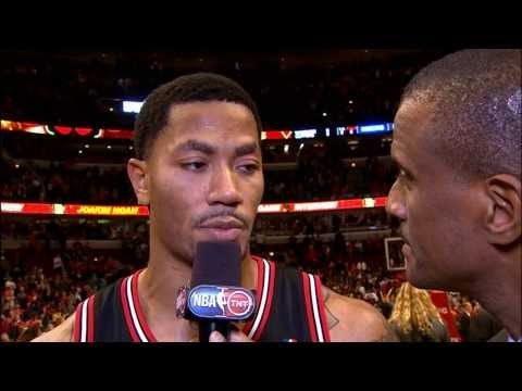 Derrick Rose's High Arching Game Winner over Chandler and the Knicks!