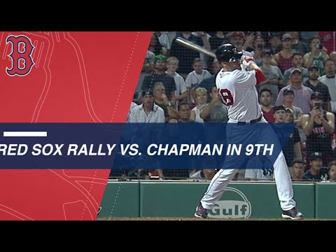 The Red Sox score 3 runs in the 9th to force extras