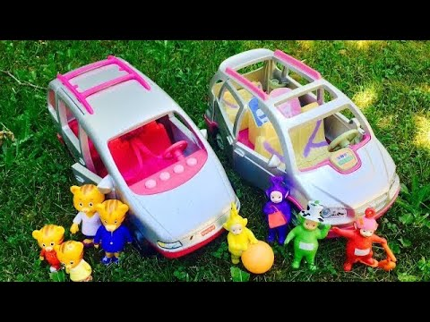 Musical FISHER PRICE Van and SUV Drive and Hike with TELETUBBIES and Daniel Tiger TOYS!