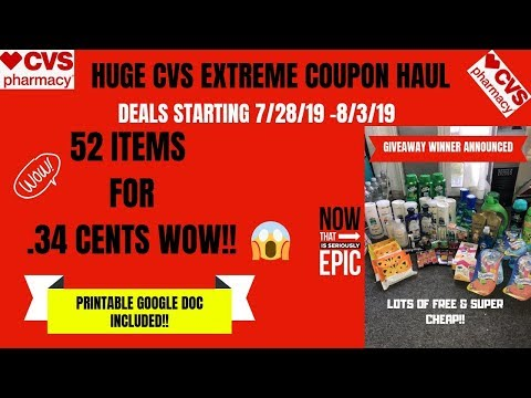HUGE CVS EXTREME COUPON HAUL DEALS STARTING 7/28/19|53 ITEMS ONLY 34 CENTS 😱GIVEAWAY WINNER PICKED!