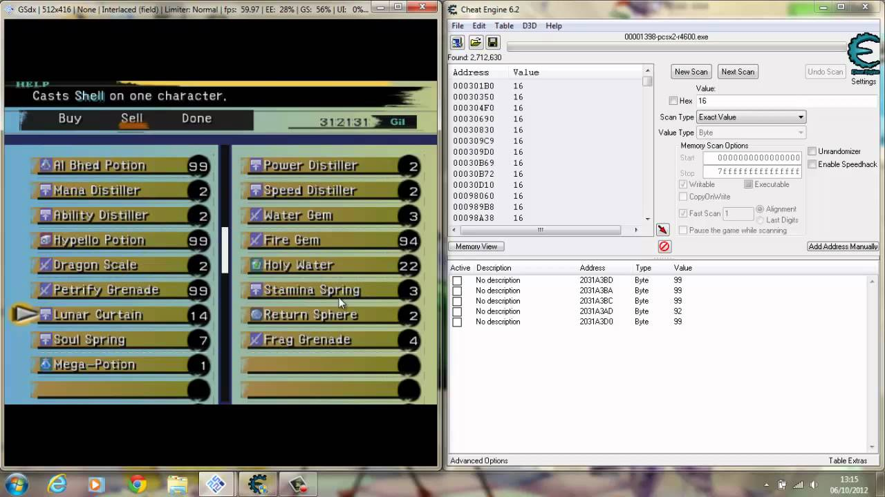FFX <b>PCSX2</b> 0.9.8 How to use <b>cheat</b> engine to get more items - YouTube