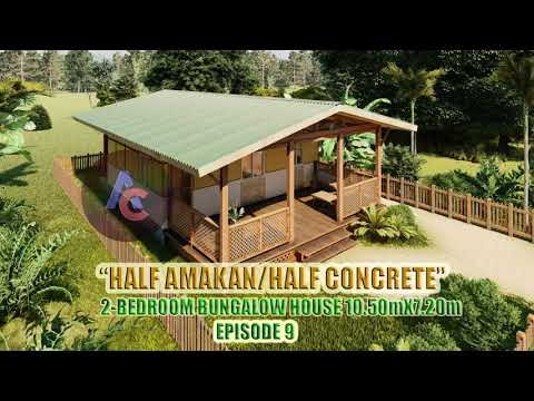 Low cost 2-Bedroom Half Amakan/Half Concrete Bungalow Simple House Design Ideas