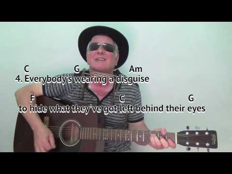 Abandoned Love - Bob Dylan cover - easy chords guitar lesson - on-screen cords and lyrics