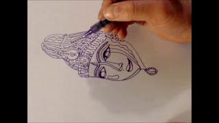 Speed Drawing: Hindu Goddesses Devi, Saraswathi, Kali