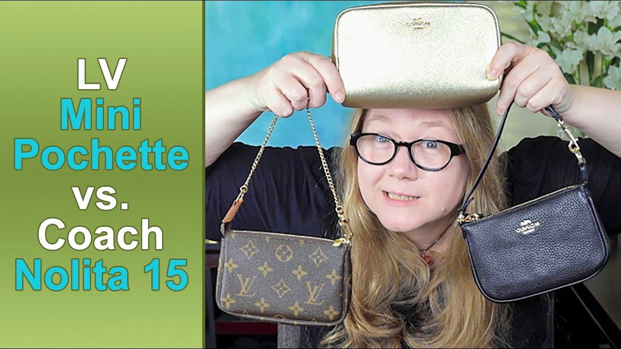 COMPARISON: Louis Vuitton Mini Pochette vs Coach Nolita 15 + Boxy Cosmetic  || Autumn Beckman