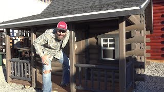 Amish Built Tiny Houses...A Tour of an Amish Log Cabin, Deer Blind Tiny House and Patio Retailer