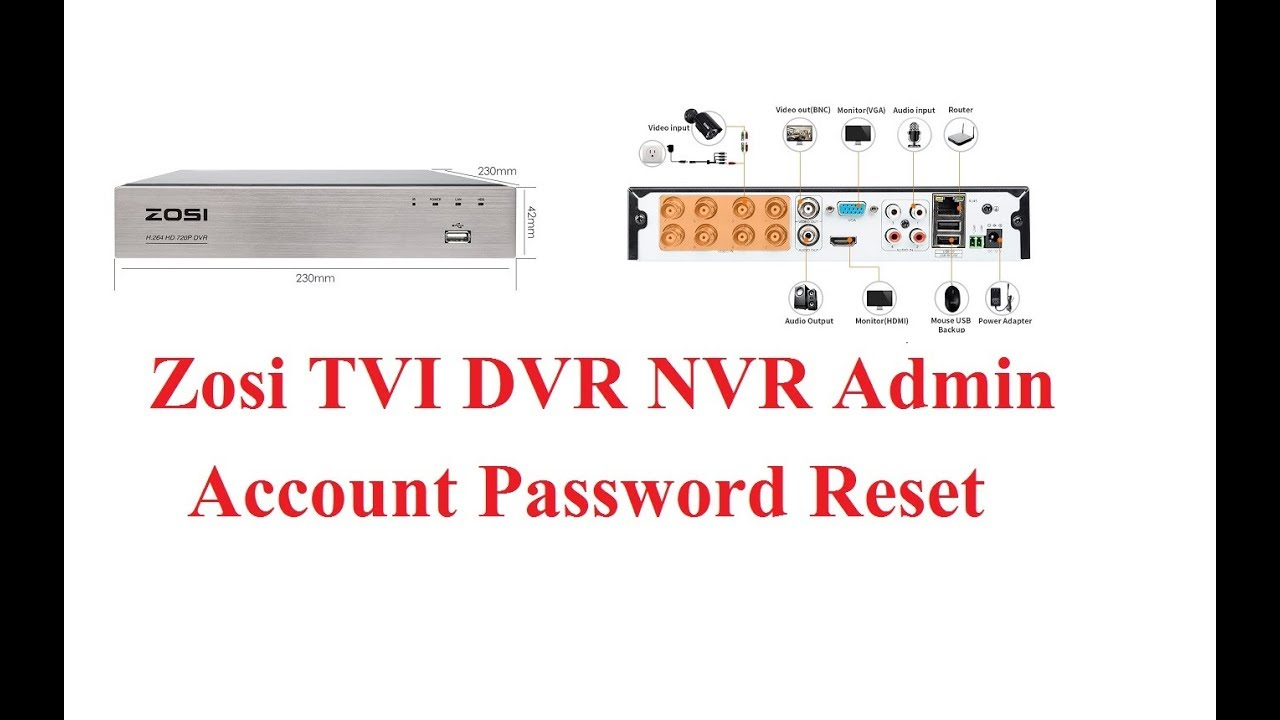 Zosi TVI DVR NVR Forgot Password Reset