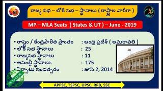 అసెంబ్లీ - లోక్ సభ - రాజ్య సభ - స్థానాల వివరాలు || MP - MLA - State wise Seats information in Telugu