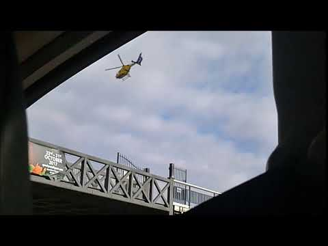 Air ambulance over Southport pier